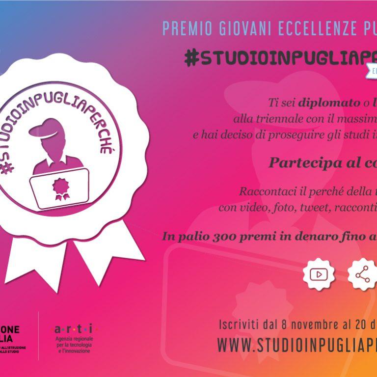 Torna il Premio Giovani Eccellenze pugliesi #STUDIOINPUGLIAPERCHÉ: aperte le candidature