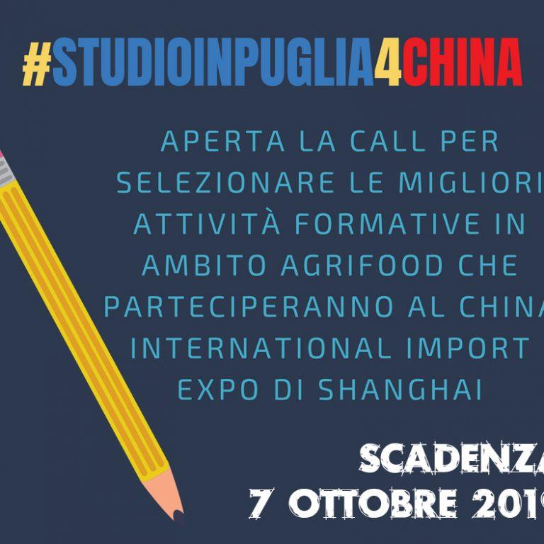 #StudioInPuglia4China 2019, aperte le selezioni