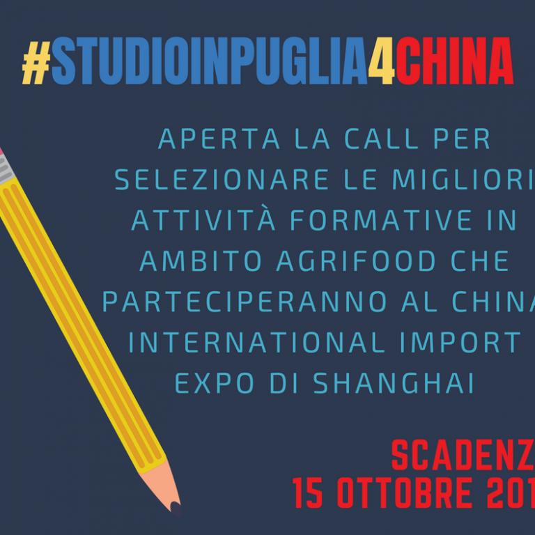 Aperte le selezioni per #StudioInPuglia4China