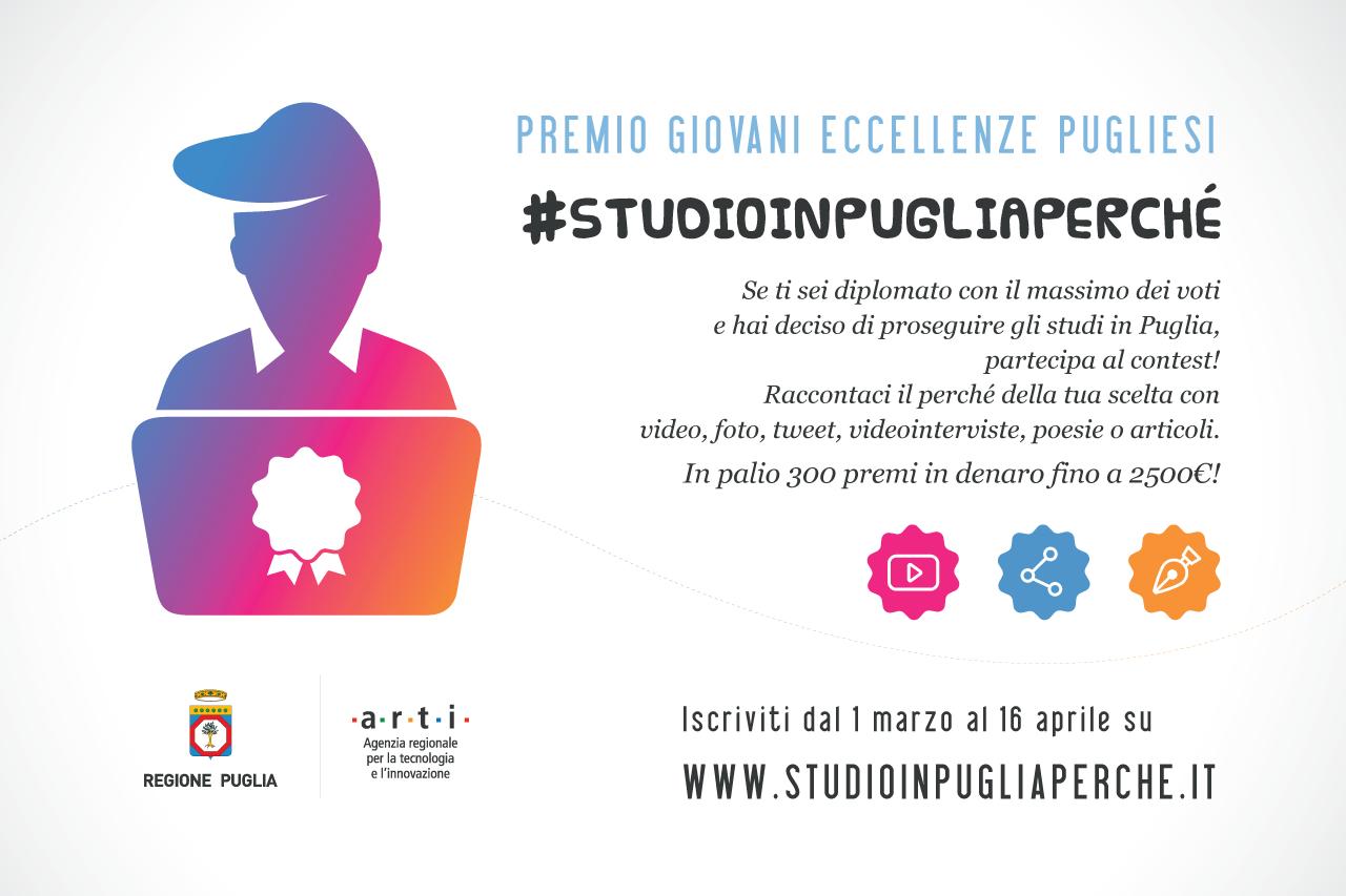 Prorogate al 16 aprile le iscrizioni al Premio Giovani Eccellenze Pugliesi #STUDIOINPUGLIAPERCHÉ